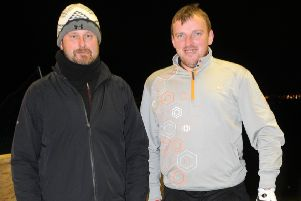 Longridge Golf Club's Mark Young with his coach, PGA professional Stephen Taylor