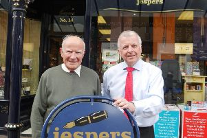 End of an era - Peter and Charles outside Jespers in Harrogate.