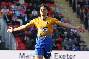 Picture by Gareth Williams/AHPIX.com; Football; Sky Bet League Two; Exeter City v Mansfield Town; 30/3/2019  KO 15.00; St James Park; copyright picture; Howard Roe/AHPIX.com; yler Walker celebrates his second after making it 4-1 to Mansfield from the penalty spot