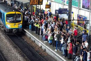 Crowds at Leeds station. The city was one of many to be hit by last year's timetable chaos.