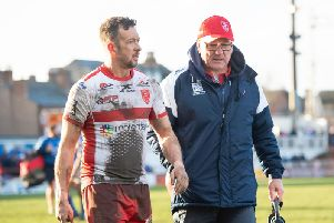 Hull KR's Danny McGuire, left, and Tim Sheens (SWPix)