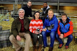 The presenters and guests on the  set at  Cannon Hall Farm near Barnsley where  Springtime on the Farm  is being  filmed for Channel Five. From left: Peter Wright , Kelvin Fletcher, Lindsey Chapman, JB Gill, Adam Henson and Julian Norton.