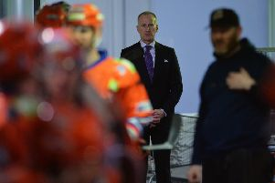 FINAL BOW: Tom Barrasso waits for his players to take to the ice at Sheffield Arena, something he will do for the last time on Saturday night in the Elite League playoff quarter-final against Cardiff Devils. Picture: Dean Woolley.