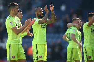 Sheffield United's David McGoldrick (centre) celebrates at full time with team-mates during the Sky Bet Championship match at Deepdale, Preston. (Pictures:: Dave Thompson/PA Wire)