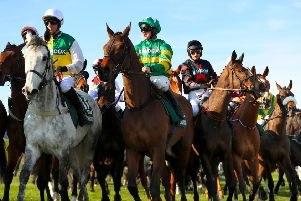 The grey Vintage Clouds and jockey Danny Cook (left) at the start of the Grand National.