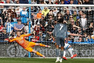 Penalty boost: Huddersfield Town's Aaron Mooy scores from the spot against Leicester to make it 2-1.