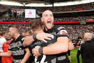 Hull FC's Gareth Ellis celebrate at the final whistle after beating Wigan in the Challenge Cup Final at Wembley in 2016. Picture by Richard Blaxall/SWpix.com