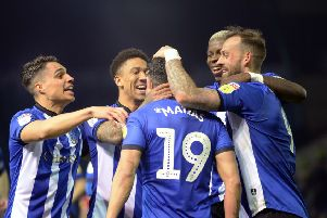 Goalscorer Marco Matias is mobbed by his Sheffield Wednesday team-mates. Picture: Steve Ellis