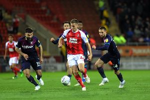 Rotherham United captain Will Vaulks breaks through the Villa defence. Picture: Tony Johnson.