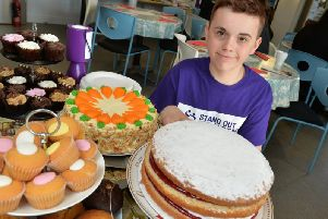 Jake Gill at the fundraising coffee morning.