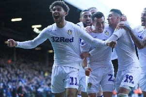 Leeds United's Jack Harrison (centre) celebrates scoring  the first goal (Picture: PA)