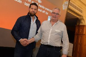 Sheffield Steelers' new head coach, Aaron Fox, left, with owner Tony Smith. Picture: Dean Woolley.
