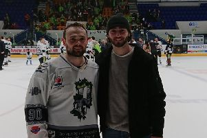 Jonathan Kirk, pictured with brother Liam after winning the NIHL National play-off title in Coventry.