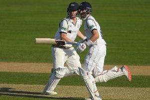 In the runs: Gary Ballance and Joe Root pile on the runs during the County Championship: Division One match between Hampshire and Yorkshire at Ageas Bow. Picture: Getty Images