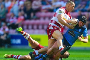 Jonny Lomax in action against Wigan on Good Friday. Picture: SWPix