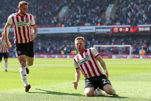 Mark Duffy celebrates scoring the opening goal of the game against Nottingham Forest at Bramall Lane. Picture: James Wilson/Sportimage