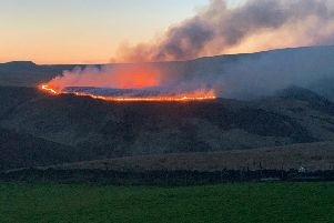 Marsden Moor ablaze on Sunday evening. (Photo: @yorkshirepudd15)