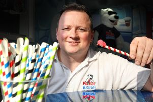Michael Reid, sales director of Polar Krush, with the new paper spoon straw.
