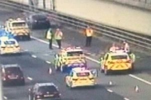 Officers on the Thelwall viaduct