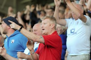 Chesterfield fans enjoy the win over Boreham Wood.