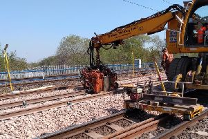 Engineering teams as they carried out the weekends work to renew the track in Gateshead.