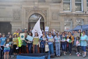 Protesters outside HSBC in Lancaster last weekend
