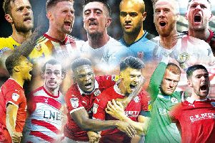 THE BEST (clockwise from top left): Liam Cooper, Oliver Norwood, Pablo Hernandez, Darren Randolph, Pontus Jansson, Billy Sharp, Alex Mowatt, Adam Davies, Kieffer Moore, Dimitri Cavare, John Marquis and Ethan Pinnock. Montage: Graeme Bandeira.