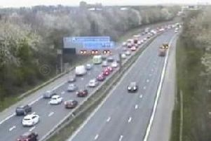 Traffic is building on the M62 due to a collision involving two vans between J12 (Eccles) and J11 (Risley).