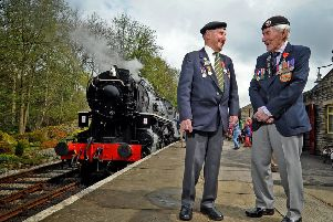 Veterans Ken Cooke and Ken Smith from the York Normandy Veterans on the Keighley and Worth Valley Railway.  Picture: Tony Johnson.