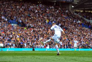 FLASHPOINT: Leeds United midfielder Mateusz Klich fires the Whites in front. Picture by Tony Johnson.