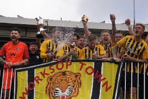 Worksop players celebrate winning the league. Pic by Lewis Pickersgill.