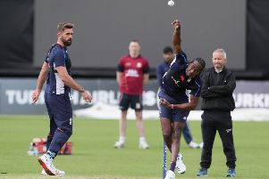 OVER TO YOU: Liam Plunkett keeps an eye on fellow pace bowler Jofra Archer during a recent practice session. Picture: Brian Lawless/PA Wire
