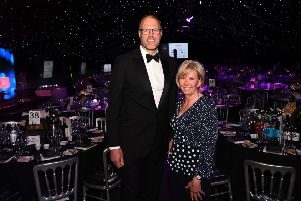 Yorkshire Property Awards at Rudding Park Hotel, Harrogate.'Pictured  chair of Variety Yorkshire Elaine Owen and compere Martin Bayfield.'9th May 2019.'Picture Jonathan Gawthorpe