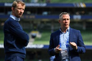 Leinster  head of rugby operations Guy Easterby, right, with  head coach Leo Cullen. Picture courtesy of Leinster/Sportsfile.