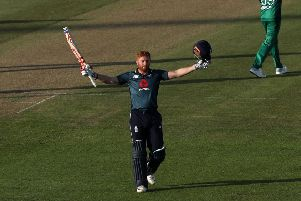 MAIN MAN: England's Jonny Bairstow celebrates his century against Pakistan at Bristol on Tuesday. Picture: David Davies/PA