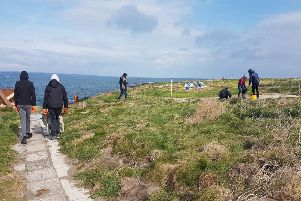Coast Care Young Rangers at work on Coquet Island. Picture by Jane Smith