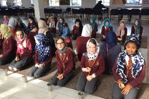 Whittingham C of E Primary School pupils at the Gurdwara Sri Guru Singh Sabha in Newcastle.