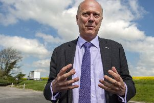 Former Justice Secretary Chris Grayling during a visit to Yorkshire yesterday.