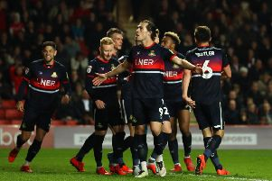 FLEETING MOMENT OF GLORY: John Marquis celebrates after putting Doncaster Rovers ahead in the tie but Charlton Athletic equalised almost instantly (Picture: Bryn Lennon/Getty Images).
