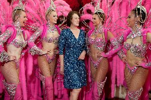 Janet Pharaoh with Moulin Rouge dancers.