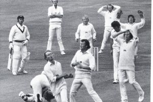 Key moment: .Confusion and despair in the England ranks as Frank Hayes misses a chance to run out Australia's grounded match-winner Gary Gilmour.