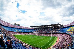 Record Super League crowd: Catalans Dragons v Wigan Warriors at Camp Nou, Barcelona. Picture: SWPix