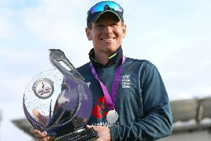 England's captain Eoin Morgan with the Royal London One-Day Series trophy after the victory over Pakistan at Emerald Headingley on Sunday (Picture: Nigel French/PA Wire).