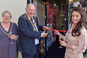 Timeless Creations a new wedding occasions shop opens in Chesterfield. Chesterfield Mayor and Mayoress Cllr Stuart and Anne Brittain cut the ribbon with owner Marilyn Henshaw.