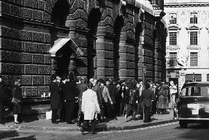 Crowds gather outside the Old Bailey trial of Peter Sutcliffe, 1981