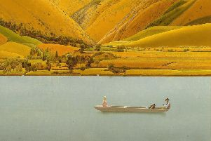Winifred Knights' Edge of Abruzzi: Boat with Three People on a Lake on display in Leeds. � The Artist's Estate, Courtesy of Liss Llewellyn.