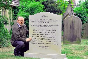 David Hinchliffe at All Saints Church in Cawthorne near Barnsley, with the new memorial to the victims of the Norcroft Colliery disaster in 1821