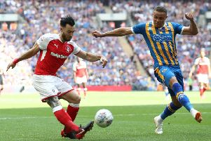 Rotherham United have agreed a loan deal for Norwich striker Carlton Morris, seen here, right, playing against the Millers for Scunthorpe United in last May's play-off final (Picture: John Walton/PA Wire).