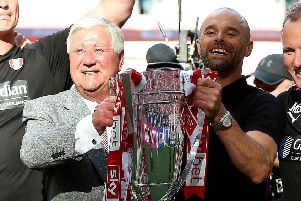 Rotherham United chairman Tony Stewart with manager Paul Warne after last May's League One play-off final win at Wembley (Picture: Nigel French/PA Wire).