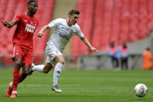 Nick Haughton on the attack in the FA Trophy final at Wembley   Picturre: GREIG BERTRAM/AGBPHOTO
